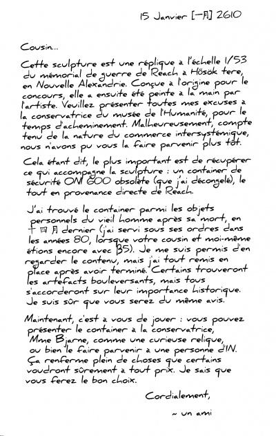 Lettre d'un ami — WikiHalo